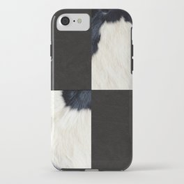 Cow Print & Leather Collage iPhone Case