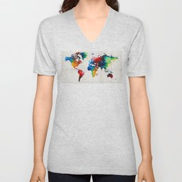 World Map 19 - Colorful Art By Sharon Cumming Unisex V-Neck