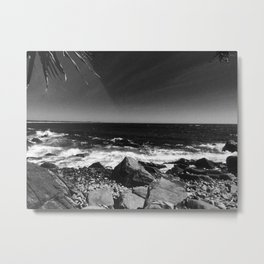 ocean view in black and white Metal Print