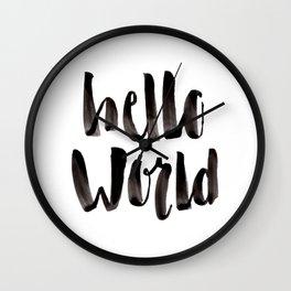 Hello World - Hand Lettering Wall Clock