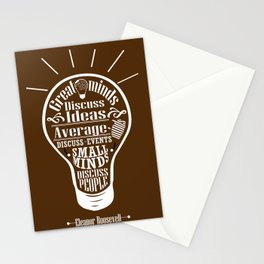 Great minds & small minds discuss ideas Inspirational Motivational Quote Design Stationery Cards