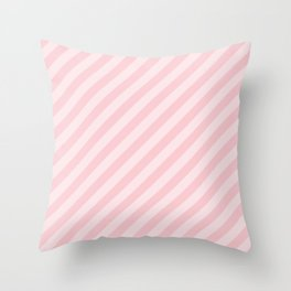 Light Millennial Pink Pastel Candy Cane Stripes Throw Pillow
