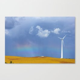 rainbow and windmill Canvas Print
