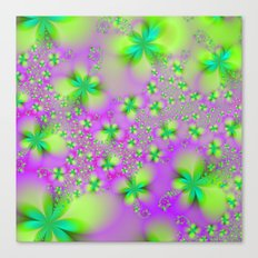 Green Yelow and Pink Abstract Flowers Canvas Print