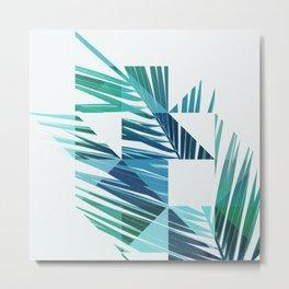 Geometric Palm Leave - blue & green Metal Print