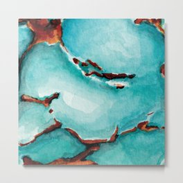 Turquoise stone watercolor Metal Print