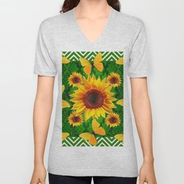 Green Yellow Butterflies Sunflowers Flowers  Art Unisex V-Neck