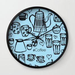 Soft Blue #Coffee Handdrawn Mugs and Pots lineart Wall Clock