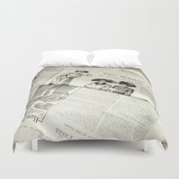 newspaper Duvet Covers featuring Old Vintage Newspaper Left to the Elements...Winter Styles by Andrea Jean Clausen - andreajeanco