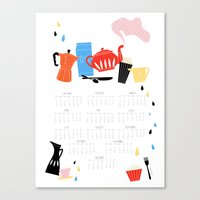 calendar Canvas Prints featuring Calendar 2014 by Anne