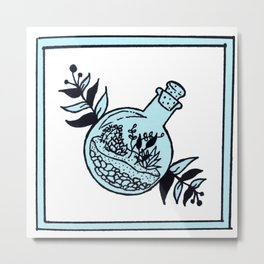 Mini Terrarium Floral Design Metal Print