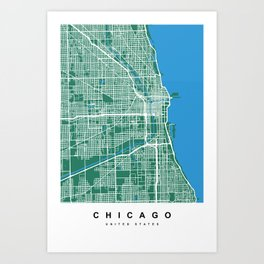 Chicago Map | Green & Blue Colors Art Print