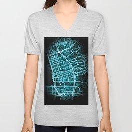 Chula Vista, CA, USA, Blue, White, Neon, Glow, City, Map Unisex V-Neck