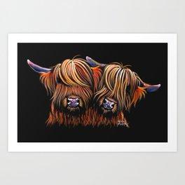 Scottish Highland Cows ' PALS ' by Shirley MacArthur Art Print