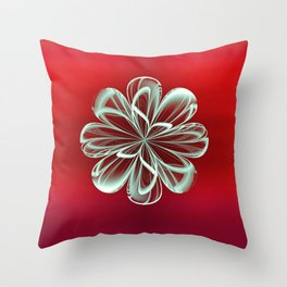 Cyan Bloom on Red Throw Pillow