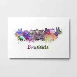 Brussels skyline in watercolor Metal Print