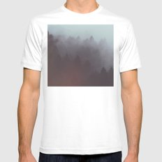 Watercolor Fog MEDIUM White Mens Fitted Tee