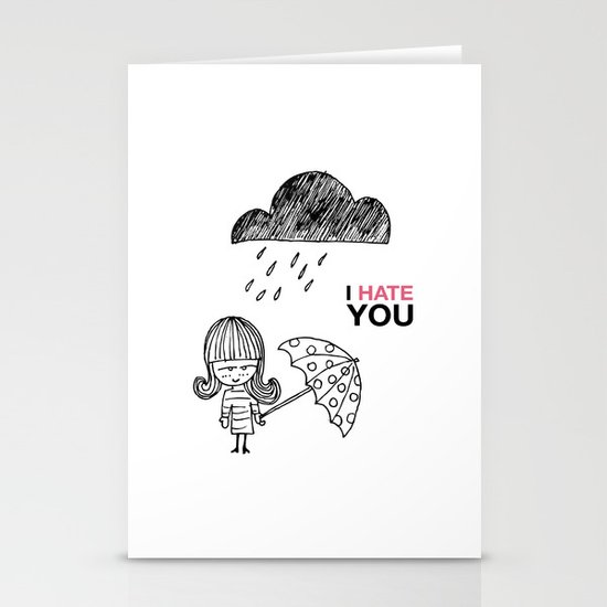 I Hate You / Rain Stationery Cards