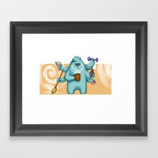 Multitasking Monster Framed Art Print