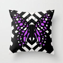 Hazy butterfly Violet Throw Pillow
