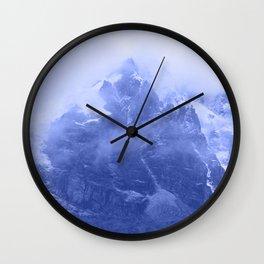 Rocky Mountain Fog Blue Wall Clock