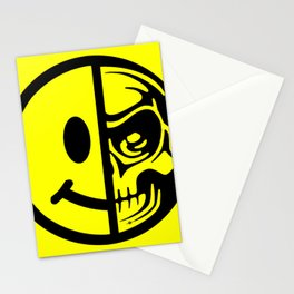 Smiley Face Skull Yellow Stationery Cards