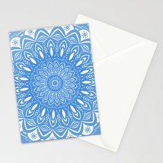 Light Blue Cobalt Mandala Simple Minimal Minimalistic Stationery Cards