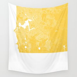 Perth map yellow Wall Tapestry