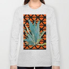 CUMIN ORANGE BLUE DESERT AGAVE CACTI ART Long Sleeve T-shirt