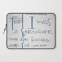 For I was a stranger and you invited Me in. Religious illustration Laptop Sleeve