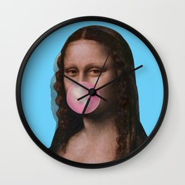 Mona Lisa (Leonardo da Vinci) with Bubblegum Wall Clock