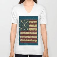 american flag V-neck T-shirts featuring American Flag by Argi Univrs