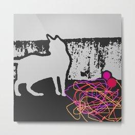 cat and string Metal Print