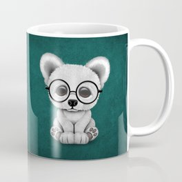 Cute Polar Bear Cub with Eye Glasses on Teal Blue Coffee Mug