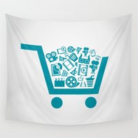 cinema Wall Tapestries featuring Cinema a cart by aleksander1