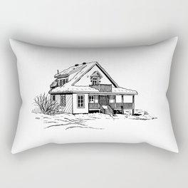 Winter Cottage Ink Rectangular Pillow