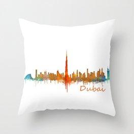 Dubai, emirates, City Cityscape Skyline watercolor art v2 Throw Pillow