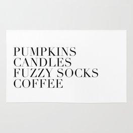pumpkins candles fuzzy socks coffee Rug