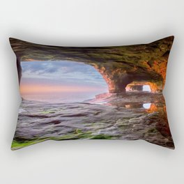 Sea Cave Sunset on Lake Superior Rectangular Pillow