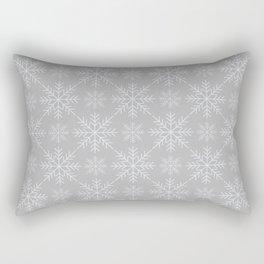 Snowflakes on Gray Rectangular Pillow