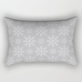 Snowflakes on Gray Rectangular Pillow