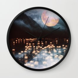 Fantasy lake with moonlight Wall Clock