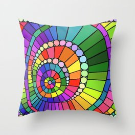 Rainbow Spiral Throw Pillow