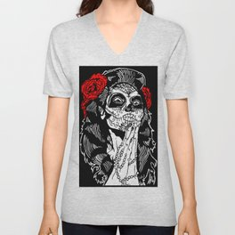 Girl With Sugar Skull, Day of the Dead Unisex V-Neck