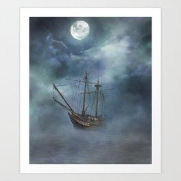 Sailing in the Dark Seas Art Print
