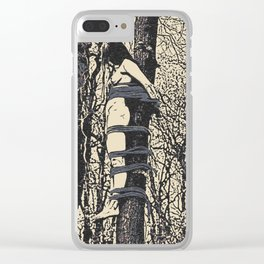 Dirty outdoors fetish games, ropes fun in deep forest, BDSM erotic artwork, tied slave girl Clear iPhone Case