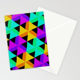 80s Colors Triangle Pattern Stationery Cards