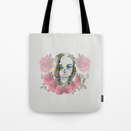 girl and flowers color Tote Bag