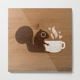 Squirrel Coffee Lover Metal Print