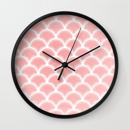 Abstract glowing rose quartz scallop pattern Wall Clock